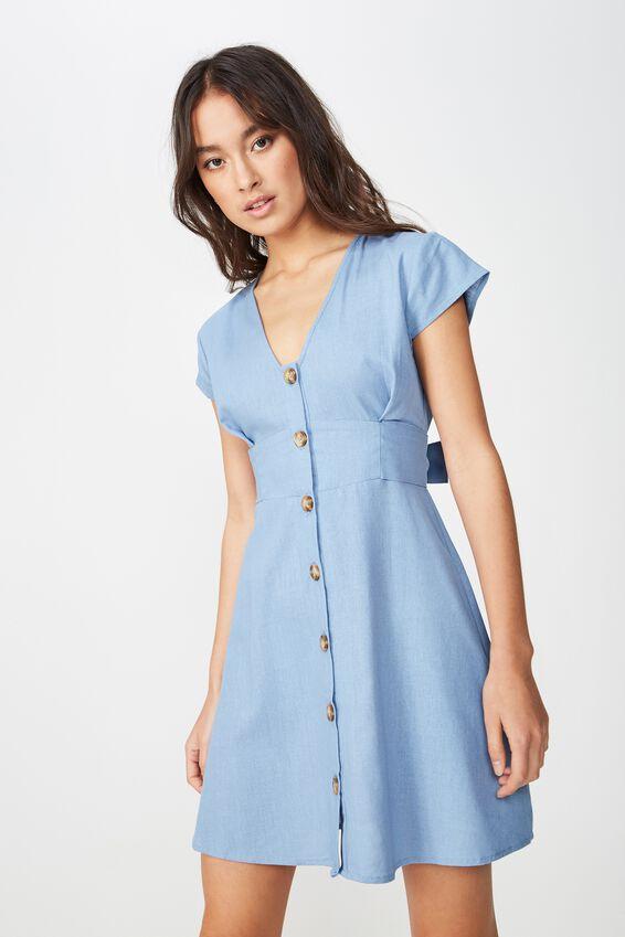 Woven Jenny Deep V Mini Dress, PRAIRE BLUE