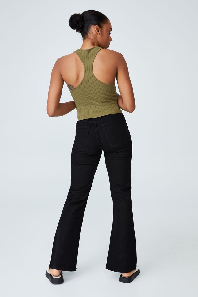 Ribbed Fashion Racer Tank, MOSSY GREEN