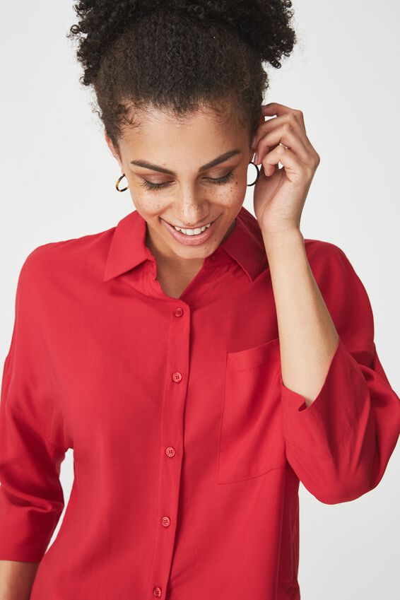 Rebecca Chopped Shirt, JESTER RED