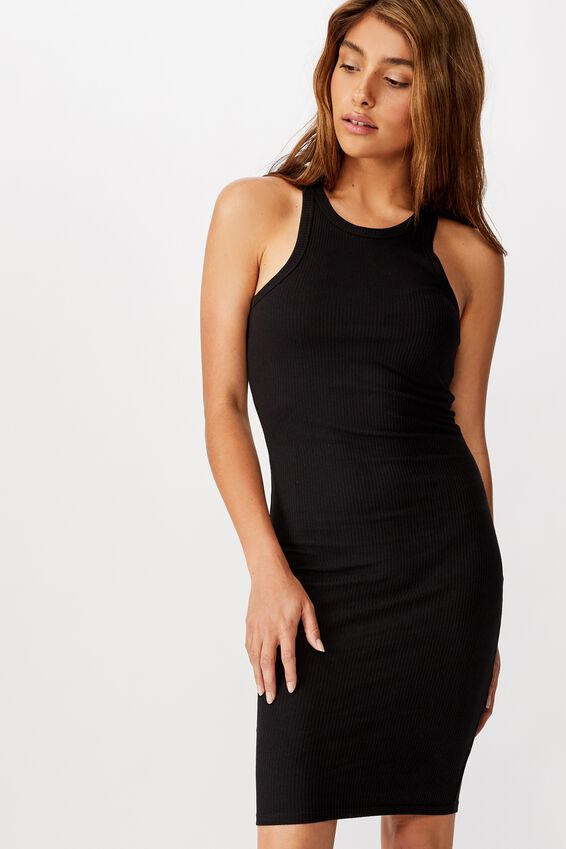 Kirsty Racerback Bodycon Midi Dress, BLACK RIB