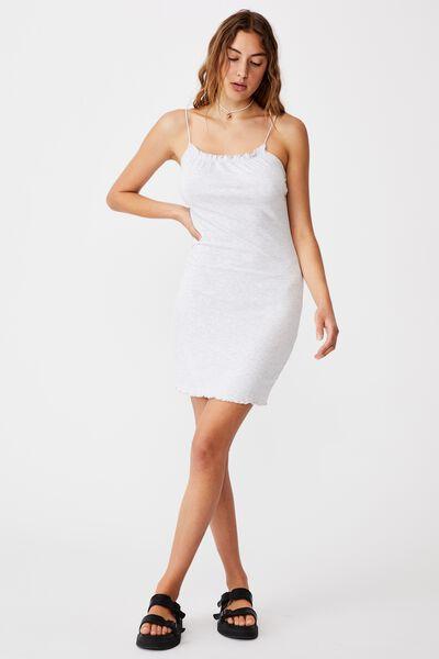 Renee Straight Neck Mini Dress, LIGHT GREY MARLE