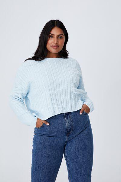 Curve Riley Cotton Knit Jumper, ILLUSION BLUE
