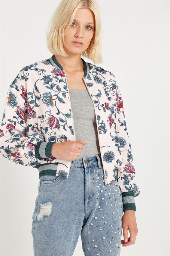 Candice Blouson Sleeve Bomber Jacket, AMETHYST FLORAL BARLEY PINK