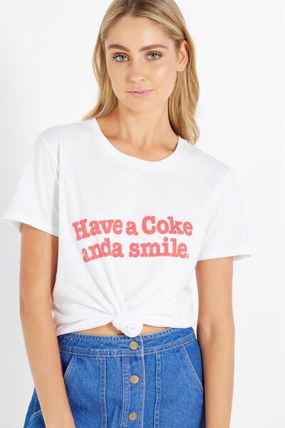 Tbar Fox Graphic T Shirt, LCN COKE SMILE/WHITE
