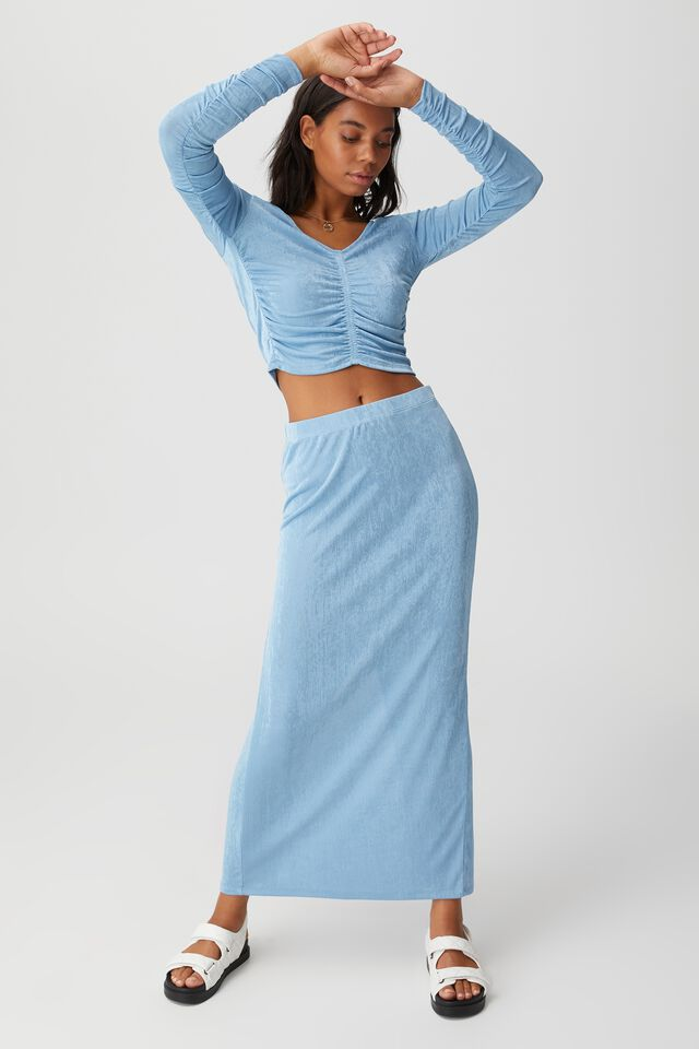 Bowie Rouched Front Long Sleeve Top, WAVE WASHED BLUE