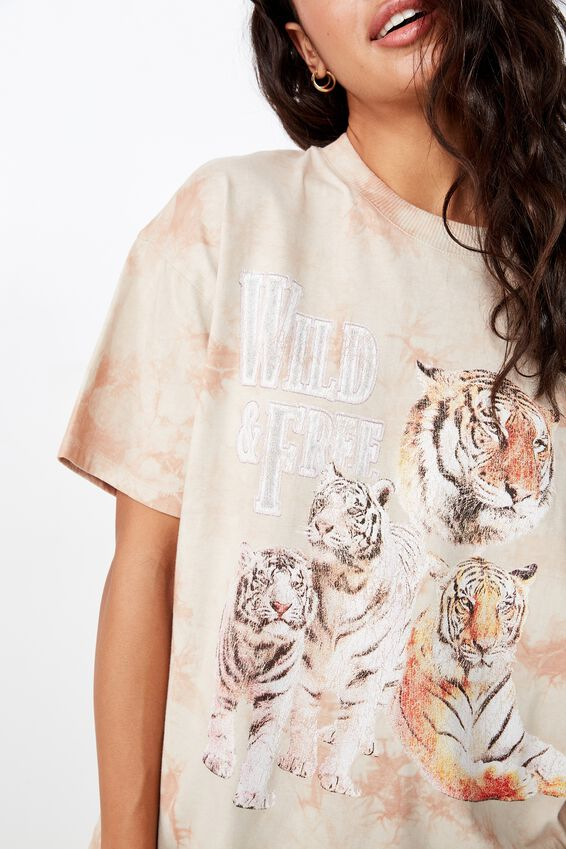 The Original Tee, WILD AND FREE SILVER GREY/TIE DYE