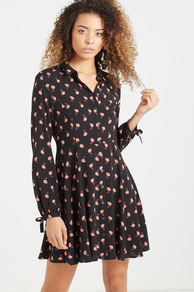 Woven Libby Long Sleeve Soft Shirt Dress, JUSTINE FLORAL BLACK