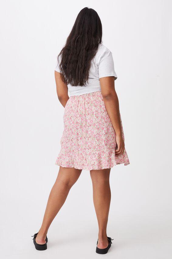 Curve Kiki Rouched Mini Skirt, BECCA FLORAL RASPBERRY