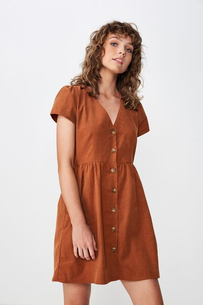 Cody Cord  Short Sleeve Mini Dress, TOBACCO CORD