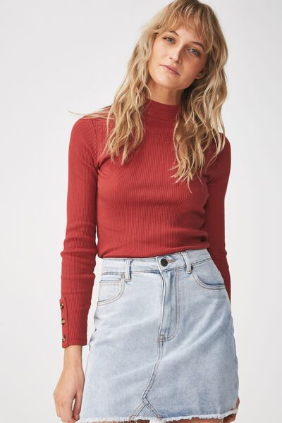 Letitia Button Detail Long Sleeve Top, ROSEWOOD