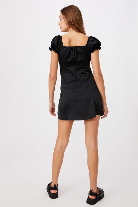 Woven Zuri Milk Maid Mini Dress, BLACK