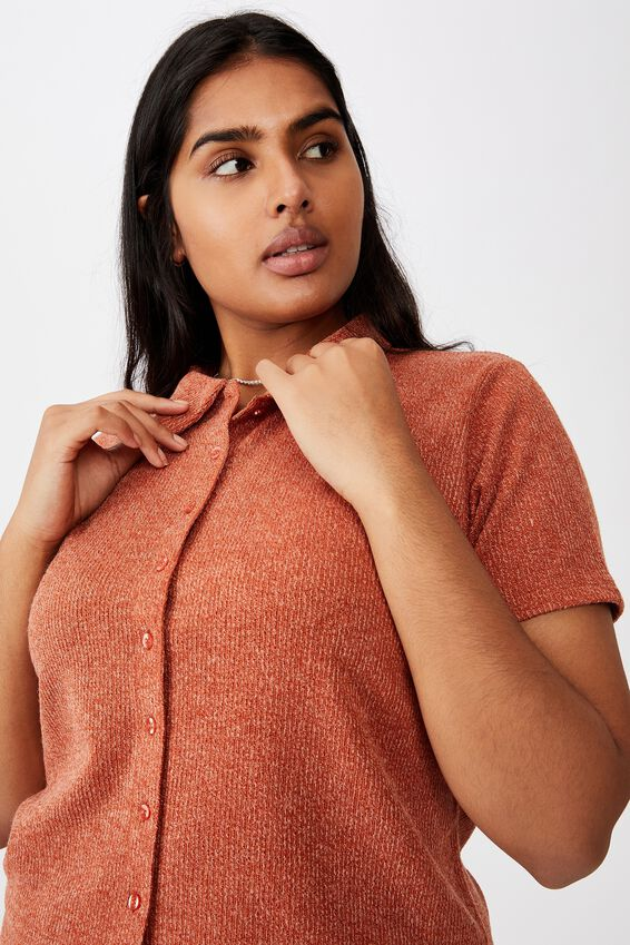 Curve Carmel Textured Polo Short Sleeve Top, WARM BRONZE