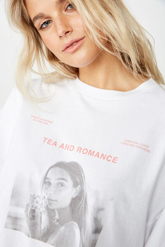 Tbar Brianna Graphic Long Sleeve, TEA AND ROMANCE/WHITE