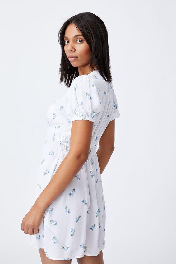 Woven Essential Button Front Mini Dress, ARABELLA FLORAL WHITE