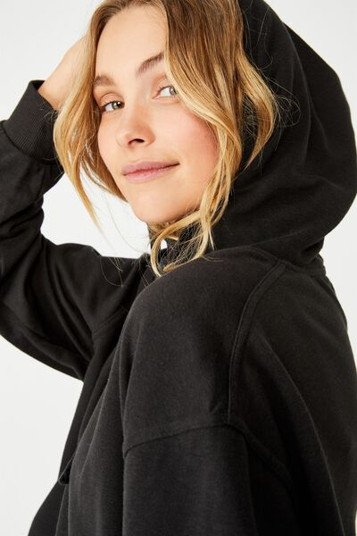Harper Boxy Hoodie Graphic Fleece, WASHED BLACK