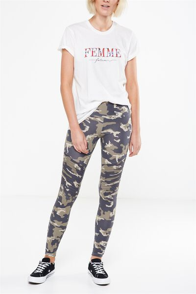 Tranquil Legging, KNEE DETAIL CARRIE CAMO/KHAKI