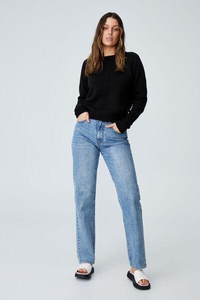Australian Wool Blend Pullover, BLACK