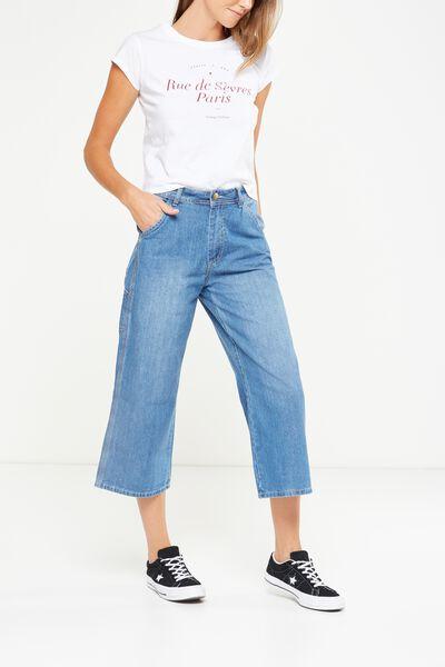 Mid Rise Wide Leg Crop Jean, MID BLUE CARPENTER
