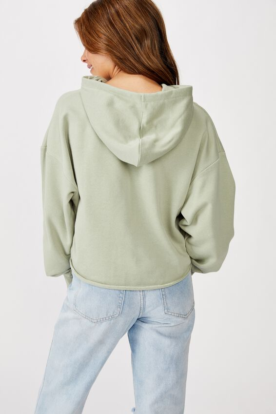 Mila Graphic Chopped Hoodie, DOING GREAT/LIGHT SAGE