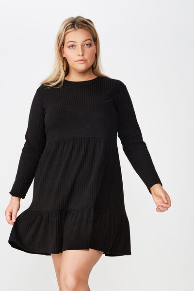 Curve Baby Doll Dress, BLACK