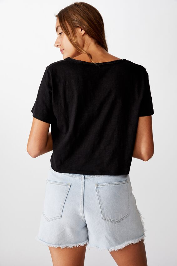 Boxy Lace Trim Tee, BLACK