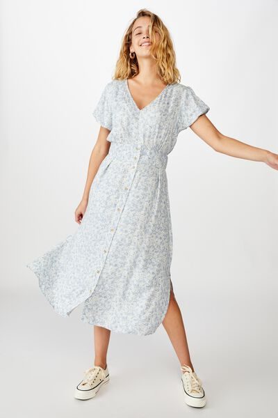Woven Chloe Puff Sleeve Midi Dress, STEPHANIE FLORAL COUNTRY BLUE