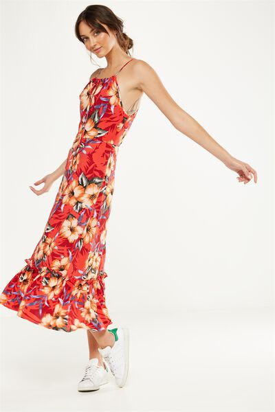 Woven Clover High Neck Maxi Dress, ILIANA FLORAL FLAME SCARLET