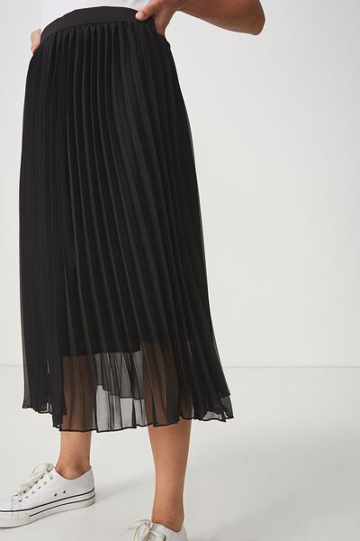 Woven Daria Pleated Midi Skirt, BLACK