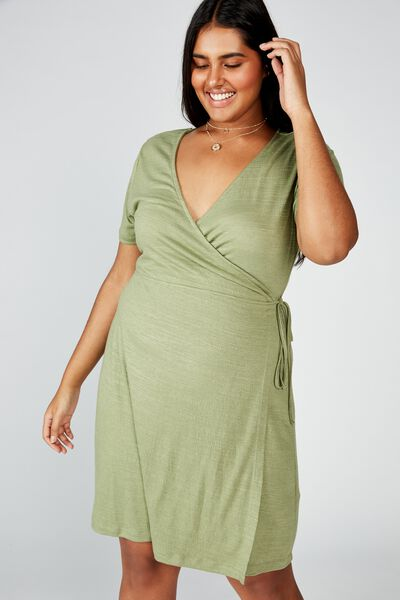 Curve Sasha Short Sleeve Wrap Dress, OIL GREEN