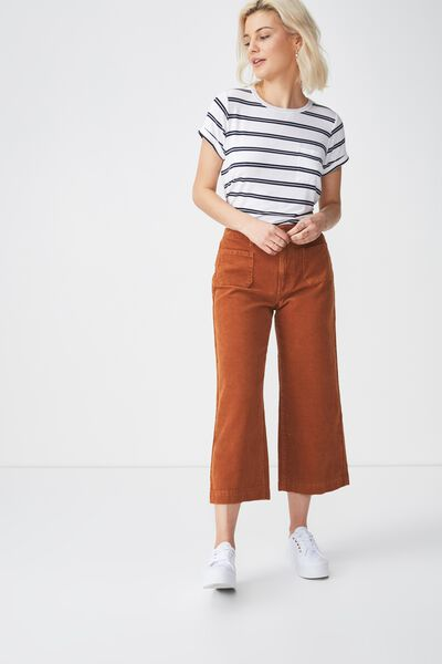 Mid Rise Wide Leg Crop Jean, TOBACCO CORD