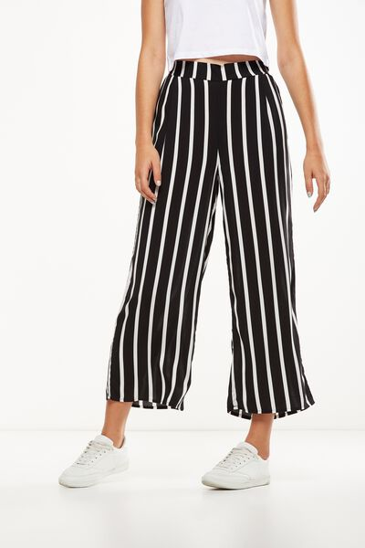 Wide Leg Pant 2, LENA STRIPE BLACK