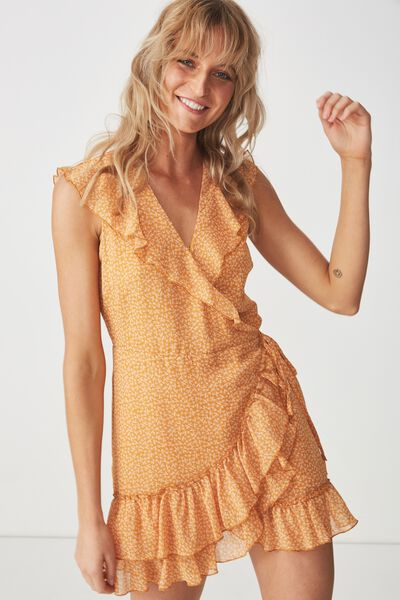 Woven Millie Wrap Dress, CARRIE DITSY INCA GOLD 1