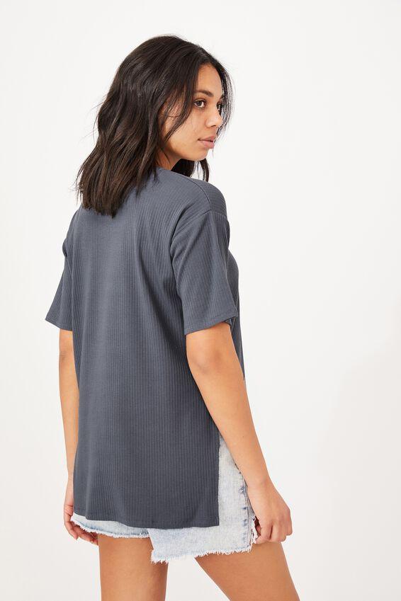 Bella Drop Shoulder Short Sleeve Top, GRISAILLE