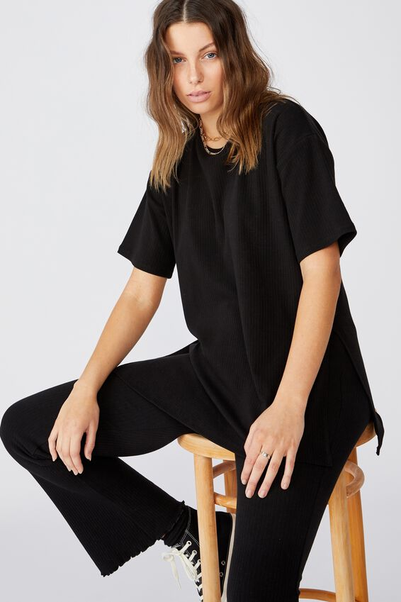 Bella Drop Shoulder Short Sleeve Top, BLACK