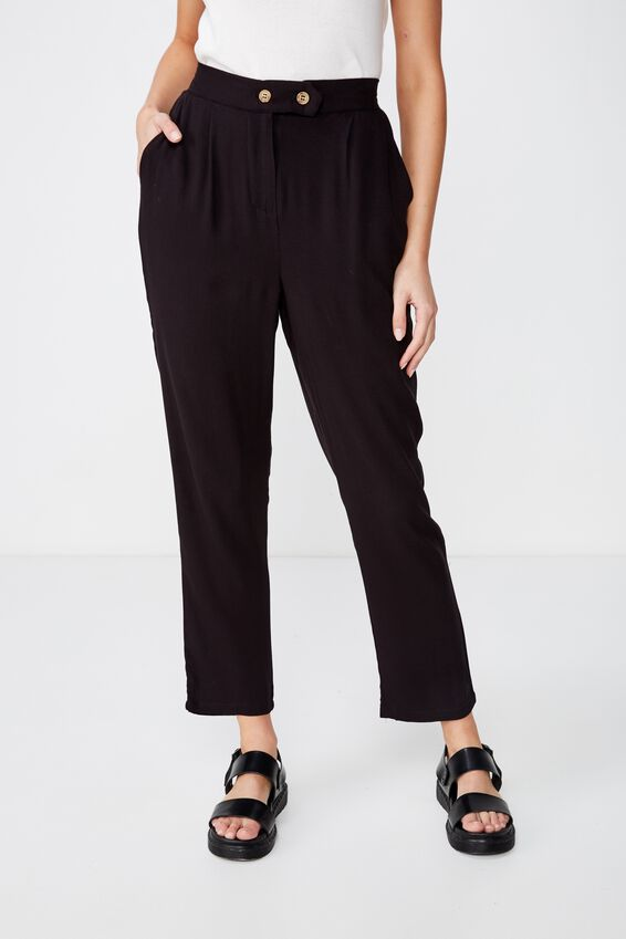 Ava Tapered Pant, BLACK TEXTURED