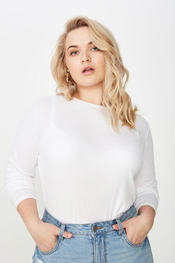 Curve Round Neck Long Sleeve, WHITE
