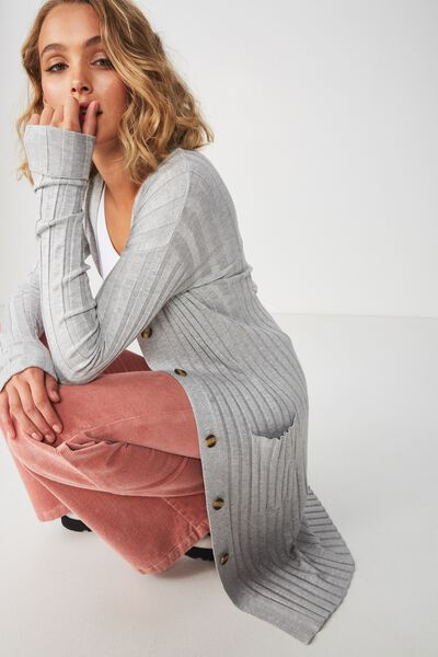 Quinnie Buttoned Longline Cardi, GREY MARLE