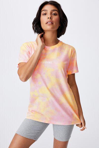 Classic Pop Culture T Shirt, LCN IRV IRVINS LOGO/PINK TIE DYE