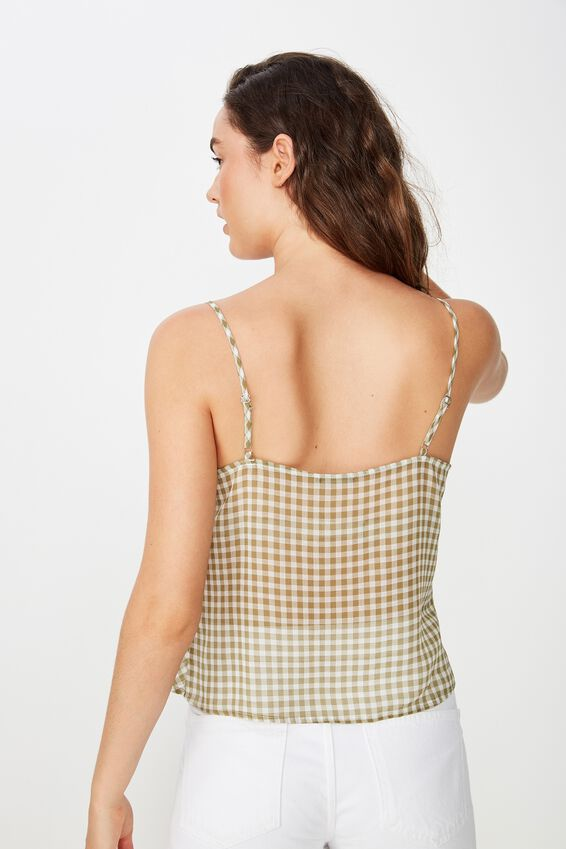 Estelle Cowl Neck Cami, GINGHAM DRIED HERB