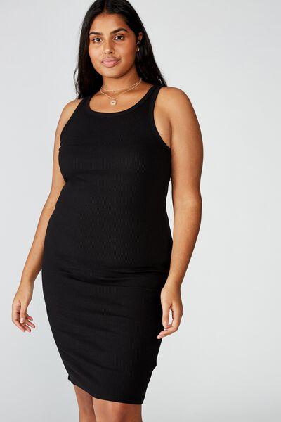 Curve Kirsty Racerback Bodycon Midi Dress, BLACK