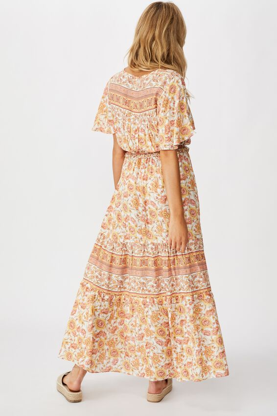 Woven Tabitha Short Sleeve Tiered Maxi Dress, SUNDAY FLORAL BORDER APRICOT ICE