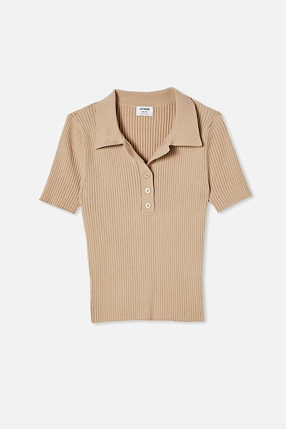 Ribbed Short Sleeve Polo Knit, LATTE