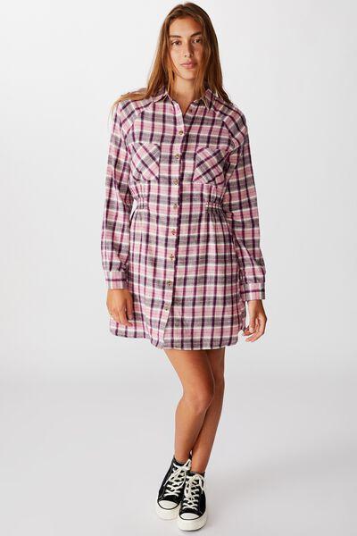 Woven Check Shirt Dress, ALEXA CHECK BLACKBERRY WINE