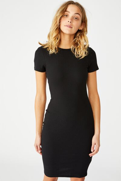 Essential Short Sleeve Bodycon Midi Dress, BLACK RIB