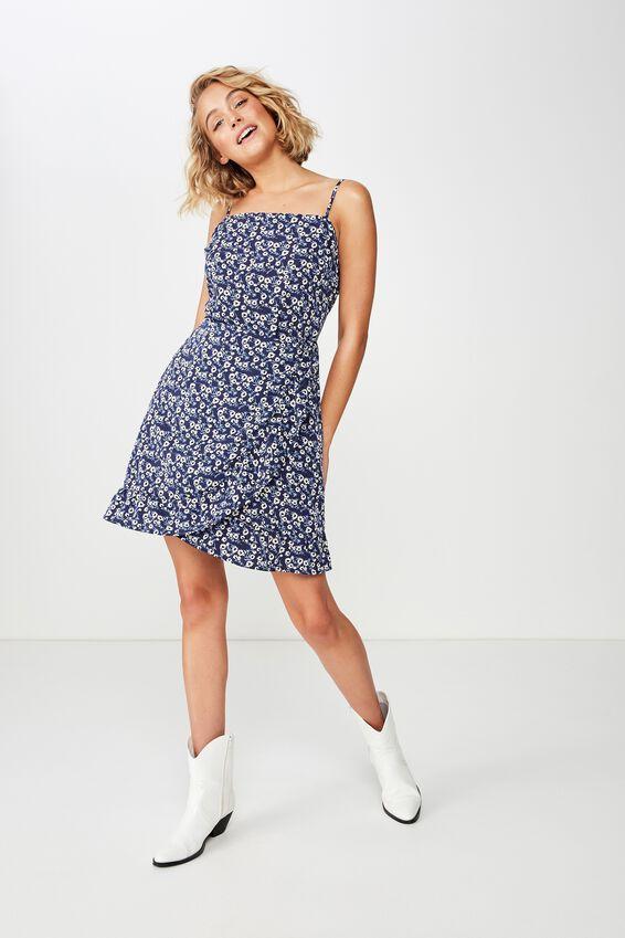 Woven Kiki Summer Mini Dress, ERIN DITSY FLORAL NAVY