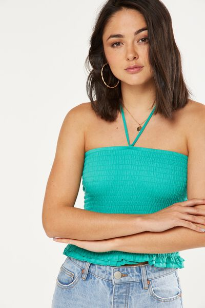 Reva Rouched Halter Tube Top, SEAGREEN