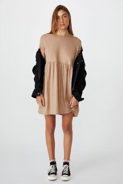 Tina Babydoll Tshirt Dress, NATURAL MARLE