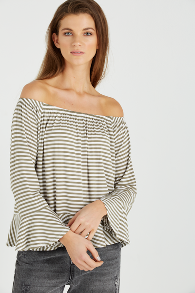 Pegi Off The Shoulder Top, LAURA STRIPE SOOT/WHITE