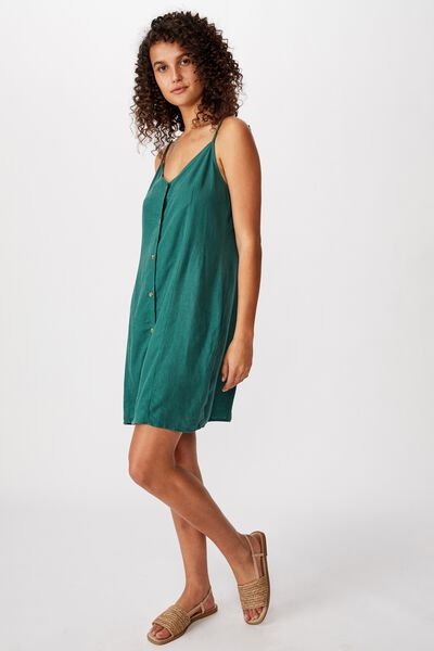 Woven Maisy Strappy Mini Dress, MALLARD GREEN