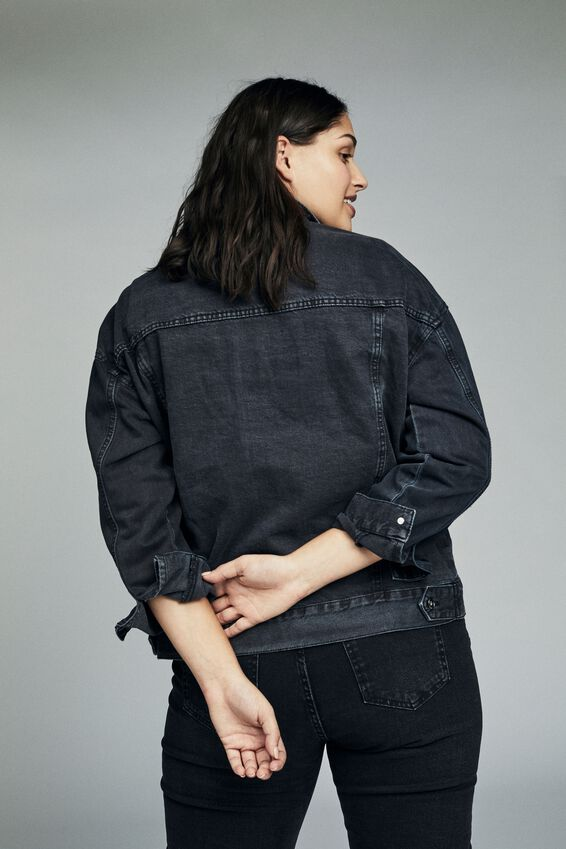 Curve Boyfriend Denim Jacket, WASHED BLACK
